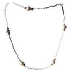 Aquamarine and Blue Akoya Pearl Necklace