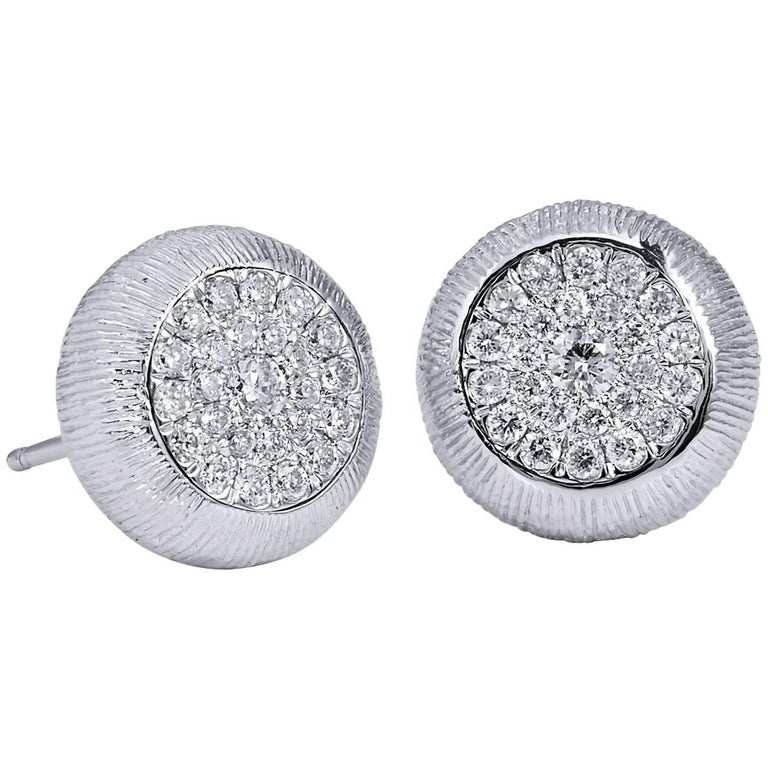 0.50 Carat Diamond Pave 18 Karat White Gold Textured Stud Earrings