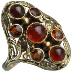 American Arts & Crafts Gold Carnelian and Citrine Ring