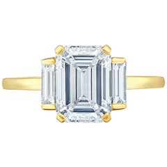Marisa Perry Three-Stone Engagement Ring Emerald Cut Diamond with Baguettes