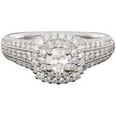 14 Karat White Gold Double Halo Three-Row Round Diamond Engagement Ring