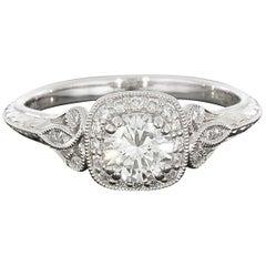14 Karat White Gold Cushion Halo Round Diamond Engagement Ring