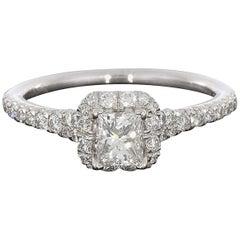 14 Karat White Gold Halo Princess Diamond Engagement Ring