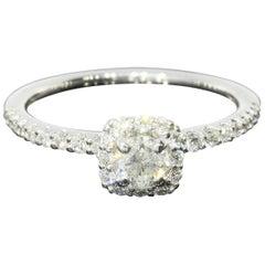 Gabriel & Co Round Diamond Cushion Shaped Halo White Gold Engagement Ring