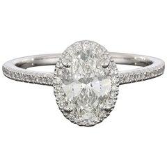 Platinum Halo Oval GIA Diamond Engagement Ring