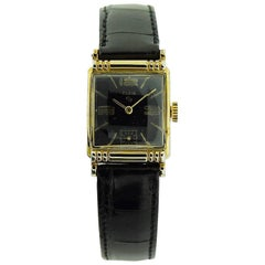 Elgin Yellow Gold Filled Art Deco Gabled Crystal and Dial Manual Watch