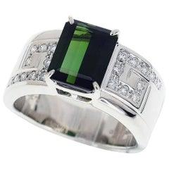 Tasaki 900 Platinum Green Tourmaline Diamond Ring