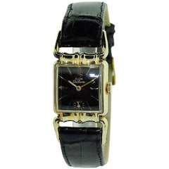 Elgin Yellow Gold Filled Art Deco Drivers Side Manual Watch, 1940's