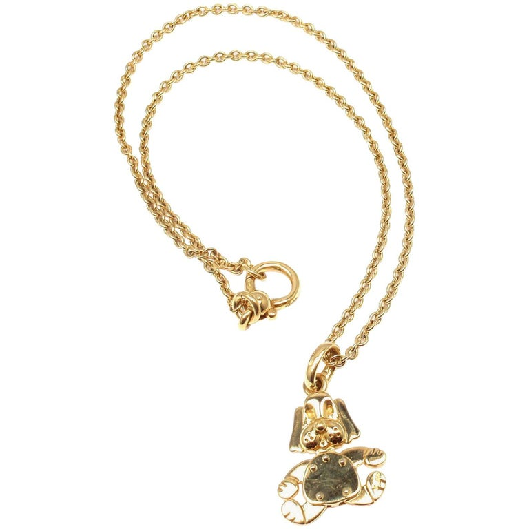 Pomellato Dog Pendant Link Yellow Gold Chain Necklace