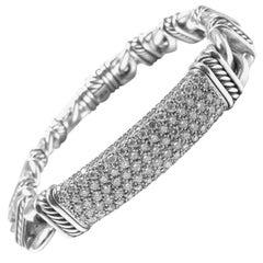 David Yurman Madison Silver Diamond Id Link Bracelet Estate of Jackie Collins