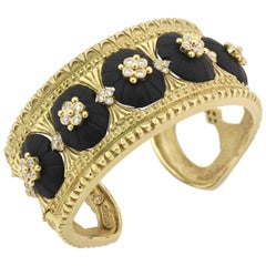 Stambolian Frosted Black Onyx Diamond Gold Cuff