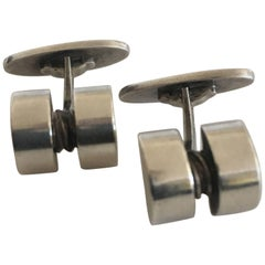 Georg Jensen Sterling Silver Cufflinks No. 67 Designed by Sigvard Bernadotte