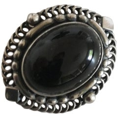 Georg Jensen Sterling Silver Brooch with Black Jewelry Stone #419