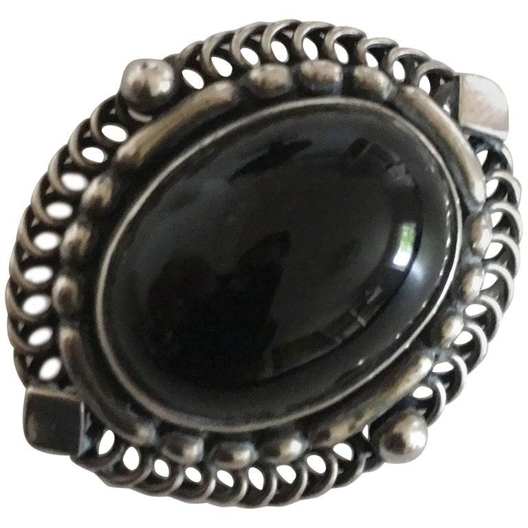 Georg Jensen Sterling Silver Brooch with Black Jewelry Stone #419