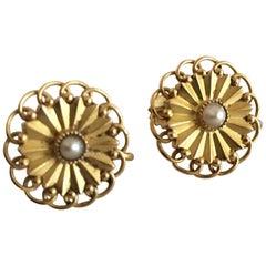 Georg Jensen 18 Karat Gold Earrings 'Screws' Ornamented with a Pearl