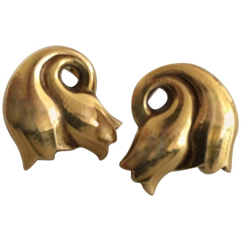 Georg Jensen 18 Karat Gold Earrings 'Clips' No. 339