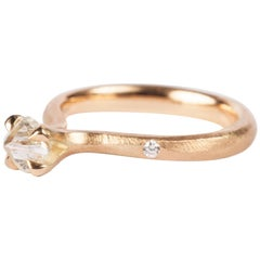 0.74 Carat Rough White Diamond and Brilliants Princess Engagement Gold Ring