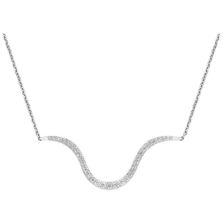 Liv Luttrell Contour White Diamonds and Gold Pendant Necklace  For Sale