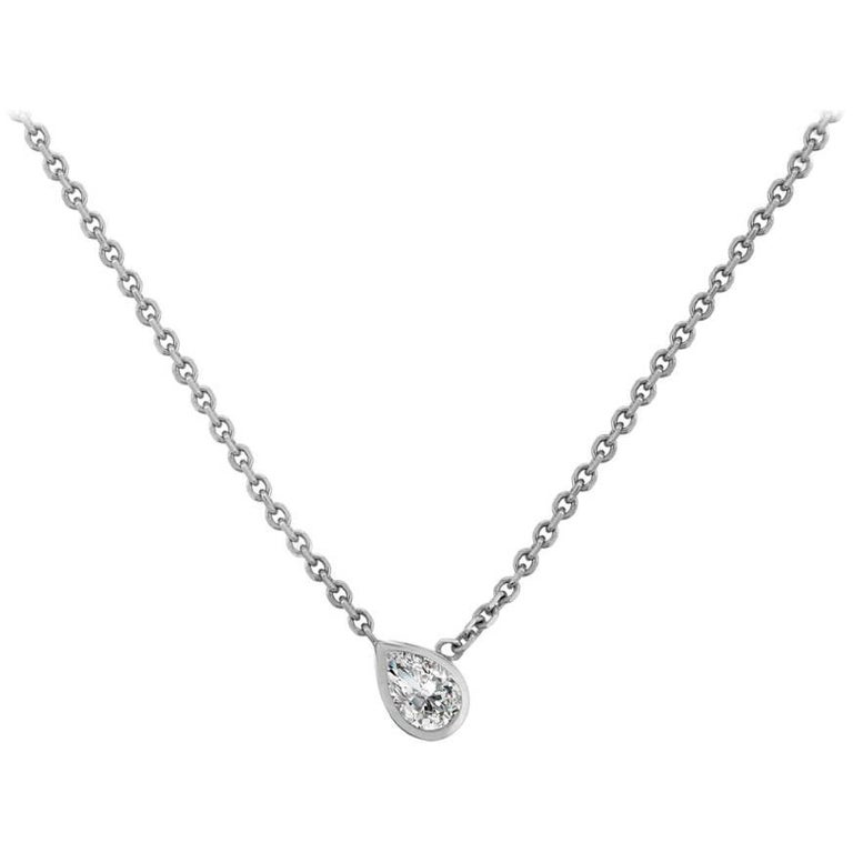 Liv Luttrell  Pear White Diamond and Gold Pendant Necklace