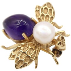 Boon Amethyst Pearl Miniature Bee Gold Brooch