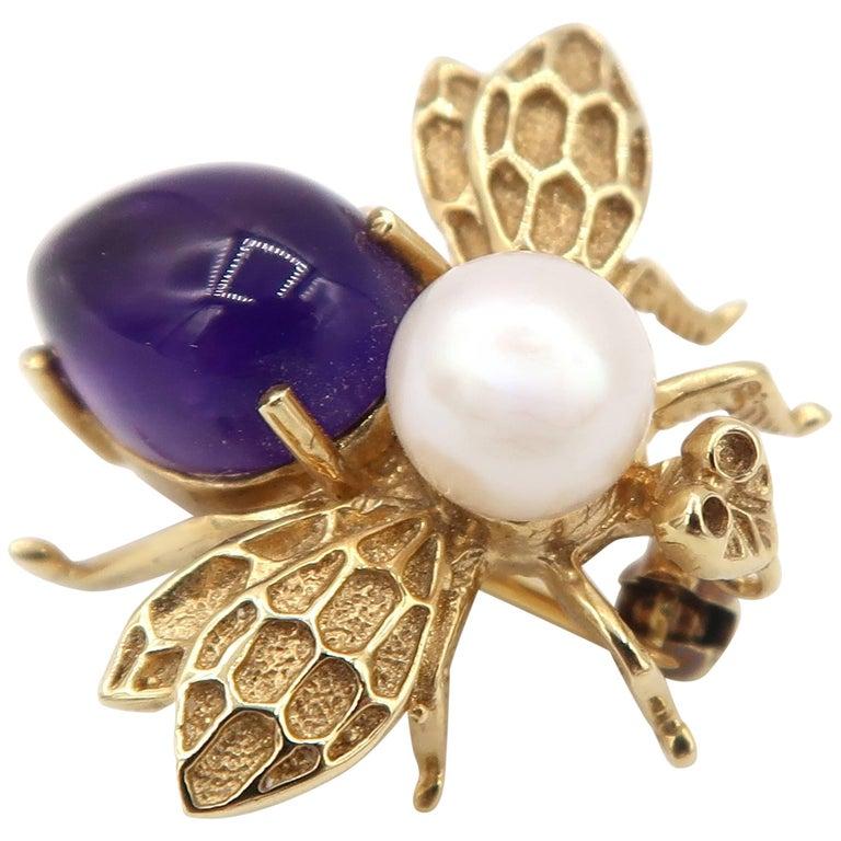 Boon Amethyst Pearl Miniature Bee Gold Brooch