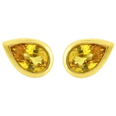 Liv Luttrell Yellow Gold Pear Sapphire Stud Earrings