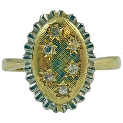 Vintage Diamond Cluster Ring, 18 Carat Yellow and White Gold, 1980s Style