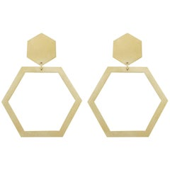 Jona 18 Karat Yellow Gold Hexagonal Dangle Earrings