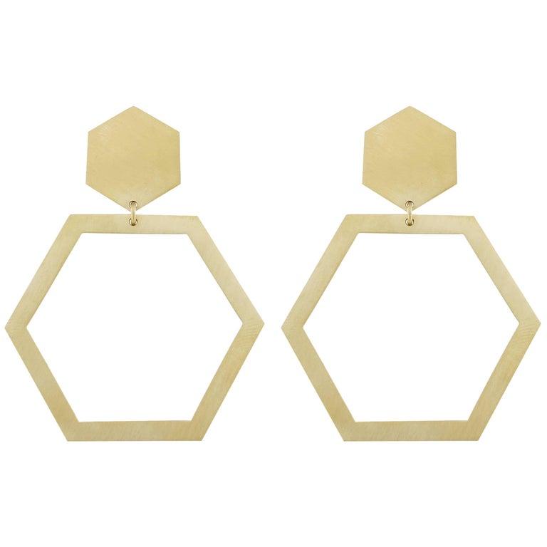 Jona 18 Karat Yellow Gold Hexagonal Dangle Earrings