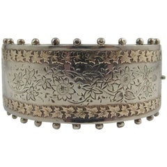 Antique Victorian Silver and Gold Bangle, Floral Decoration, Hallmarked 1884