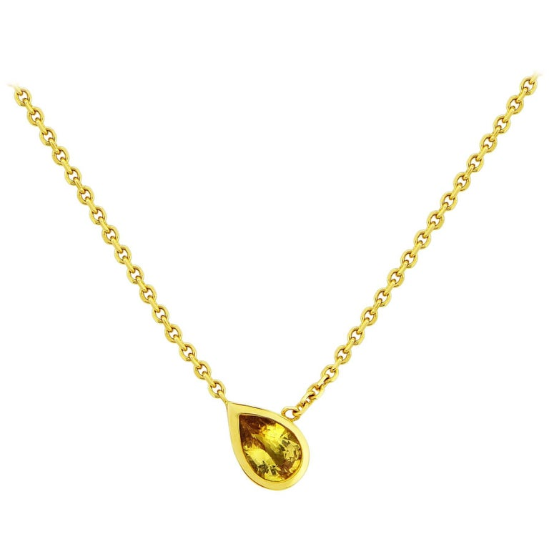 Liv Luttrell Pear Gold Sapphire Pendant Necklace