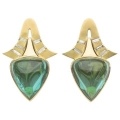Annabel Eley Green Tourmaline Cabochons Baguette Diamonds 18 Karat Gold Earrings
