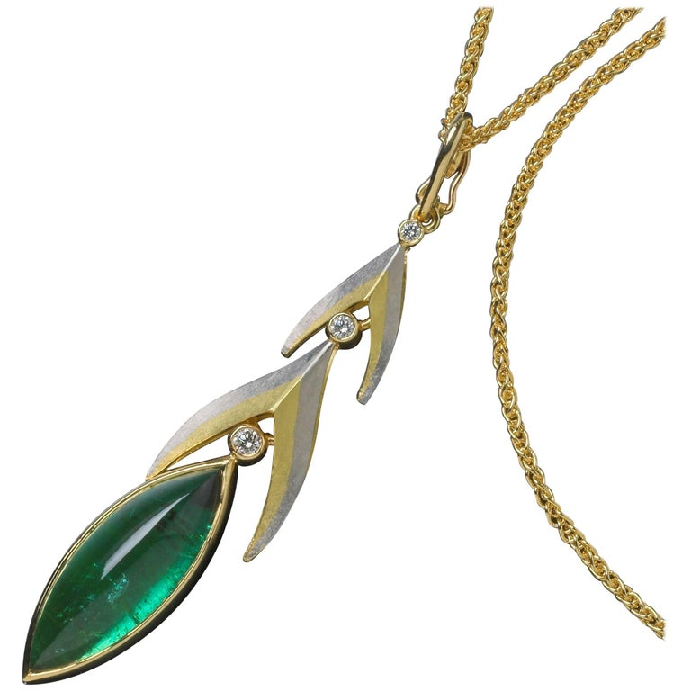 Annabel Eley Green Tourmaline Cabochon White Diamonds Platinum Gold Pendant