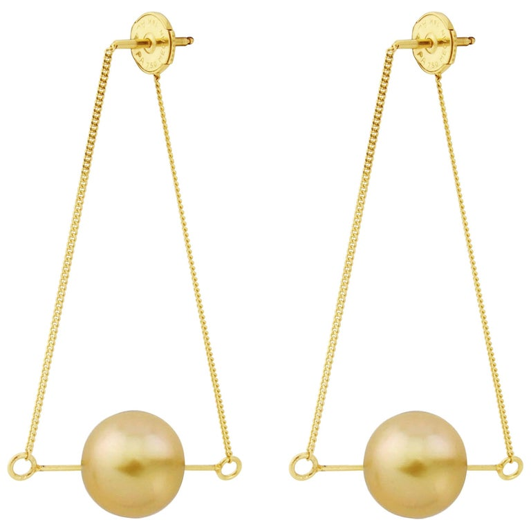 Liv Luttrell Golden South Sea Pearl Kinetic Earrings  For Sale