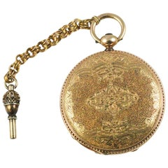 Bautte & Co. Yellow Gold Mid-1800s Pocket Watch with Key