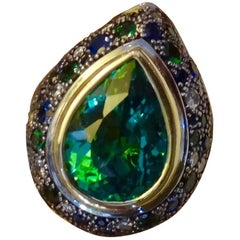 Michael Kneebone Green Topaz Tsavorite Garnet Sapphire Diamond Dome Ring