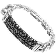 David Yurman Madison Silver Black Diamond Id Link Bracelet Estate Jackie Collins
