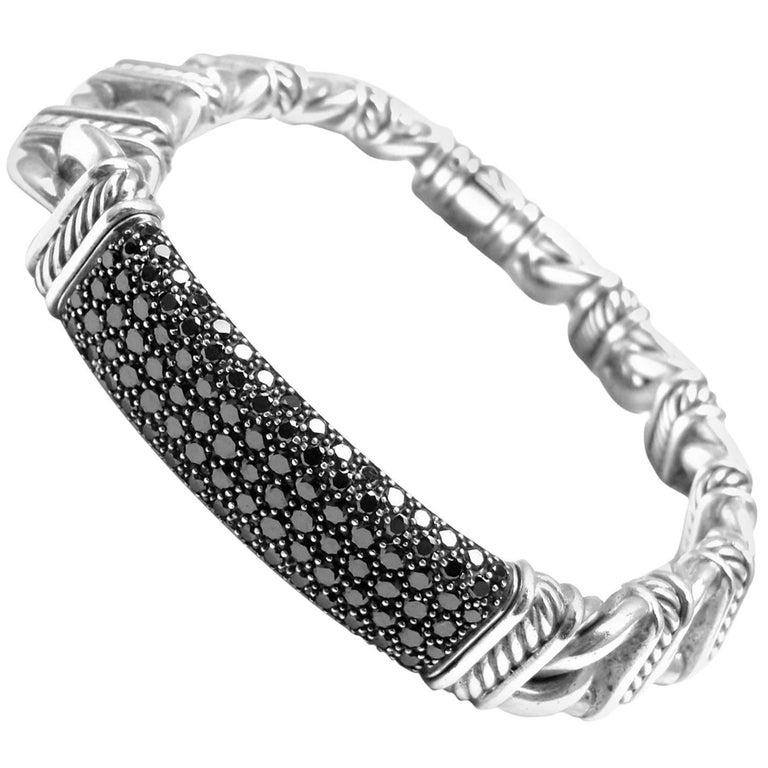 David Yurman Madison Silver Black Diamond Id Link Bracelet Estate Jackie Collins For