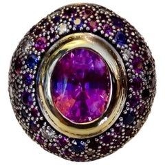 Michael Kneebone Pink Sapphire Multicolored Sapphire Diamond Dome Ring