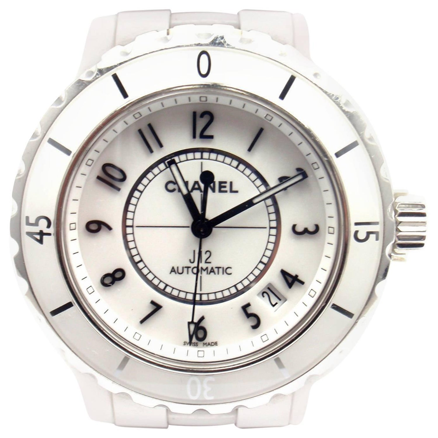 83f374eb8d2 Chanel Stainless Steel White Ceramic J12 Automatic Wristwatch Ref H0970 at  1stdibs