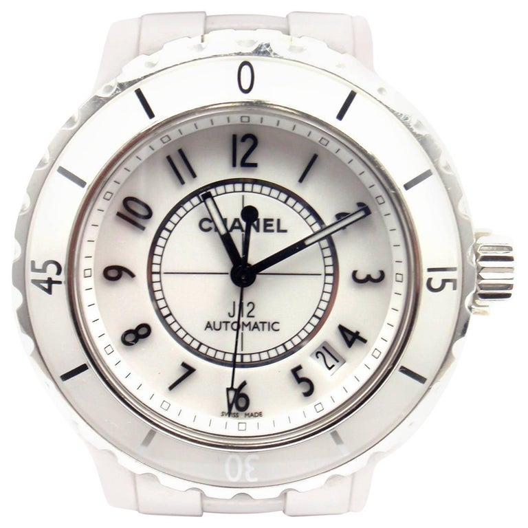 Chanel Stainless Steel White Ceramic J12 Automatic Wristwatch Ref H0970