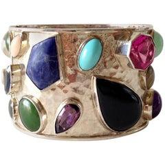 Celia Harms Sterling Turquoise Amethyst Jade Labradorite Onyx Cuff Bracelet