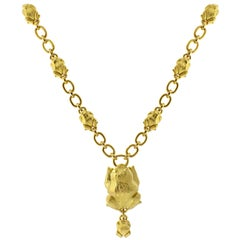 David Webb Gold Frog Necklace