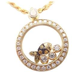 Chopard Happy Diamond Sapphire Fish Yellow Gold Pendant Necklace