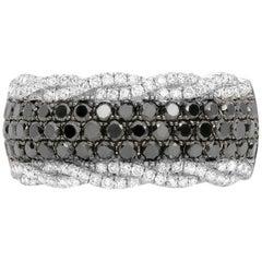 Black Diamond and White Diamond Band Ring in White Gold