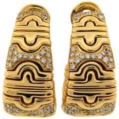 Bulgari Parentesi Diamond Yellow Gold Hoop Earrings