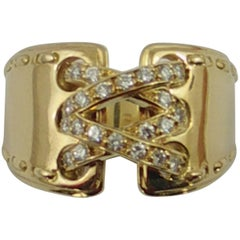 Hermes Gold and Diamond Double Stitch Ring