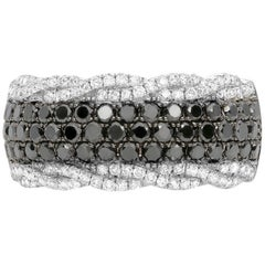 Black and White Diamond Band White Gold Ring