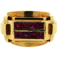 1940s Rene Boivin Ruby Yellow Gold Ring, Retro
