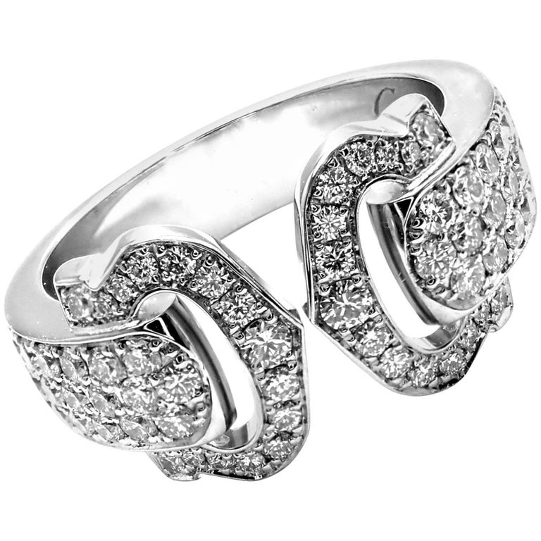 Cartier Diamond Double C White Gold Band Ring